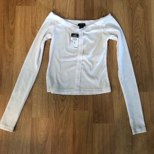 Cropped off the shoulder long sleeve button top